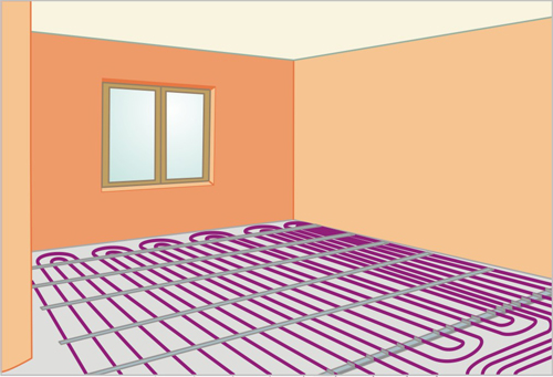 Водяной теплый пол подключается к центральному отоплению квартиры.